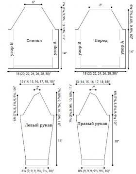 Пуловер фонтан - Выкройка 1