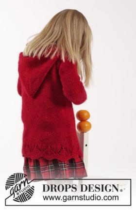 Жакет спицами с капюшоном из мохера для девочки - Фото 1