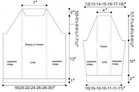 Пуловер спицами с ажурными дорожками - Выкройка 1