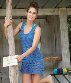 Короткое пляжное платье крючком