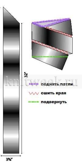 Шапка по спирали платочным узором - Выкройка 1