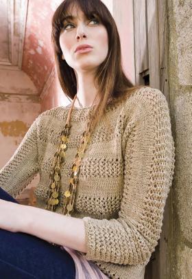 Пуловер с укороченным рукавом и ажурными вставками