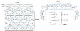 Ажурная шаль крючком с пайетками - Схема 1