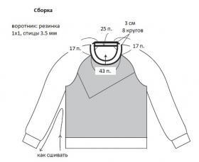 Пуловер реглан с цветной резинкой - Выкройка 2