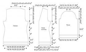 Кофта спицами с отделкой из ажура - Выкройка 1