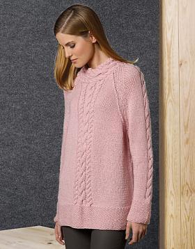 Удлиненный пуловер реглан с косами
