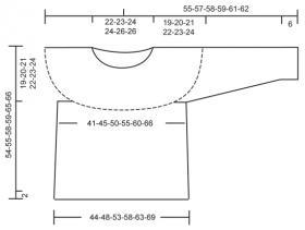 Джемпер спицами с укороченным рукавом и ажуром - Выкройка 1