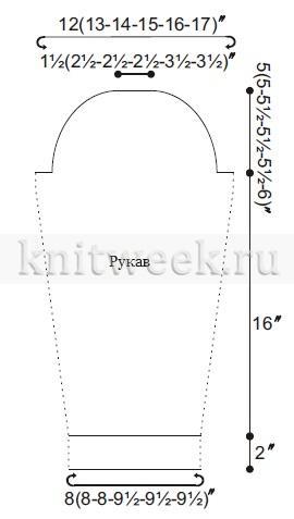 Ажурный свитер спицами с шевронами - Выкройка 2