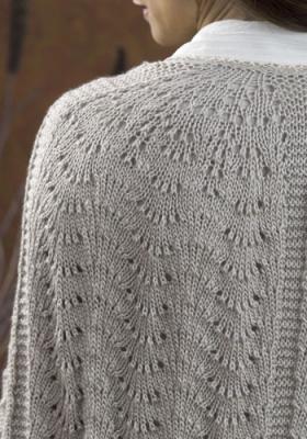 Ажурная накидка спицами - Фото 1