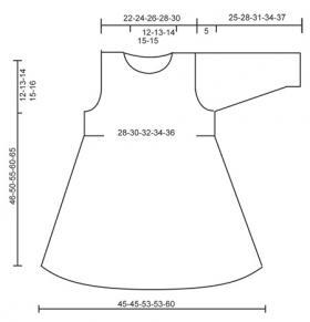 Платье спицами с длинным рукавом и повязка - Выкройка 1