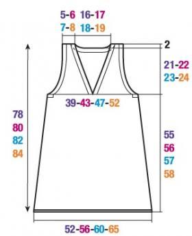 Туника с V-образным вырезом без рукавов - Выкройка 1