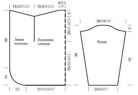 Кардиган оверсайз с закругленными полочками - Выкройка 1
