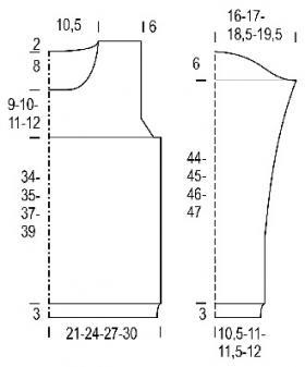 Простой джемпер с ажурными узорами - Выкройка 1
