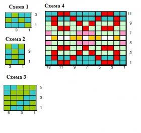 Шапка с цветным узором - Схема 1