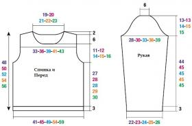 Пуловер резинкой с ажурными дорожками - Выкройка 1