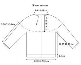 Детский жакет спицами с рукавом реглан - Выкройка 1