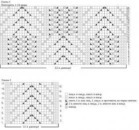 Гольфы с ажурным цветочным узором - Схема 1