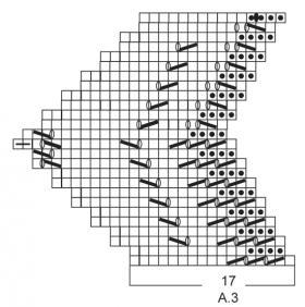 Треугольная шаль платочным узором - Схема 3