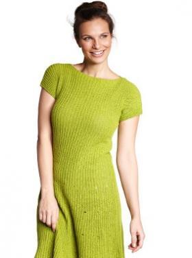 Платье в рубчик с коротким рукавом