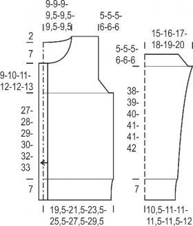 Кардиган с узором ромбы на пуговицах - Выкройка 1