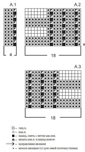 Жакет спицами укороченными рядами - Схема 3