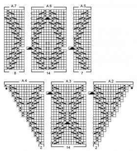 Жакет с листьями с прямыми полочками - Схема 2