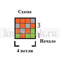 Детские разноцветные варежки - Схема 1