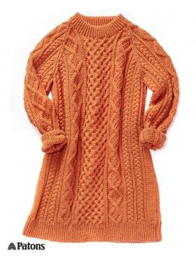 Свитер-платье с рельефными узорами - Фото 1