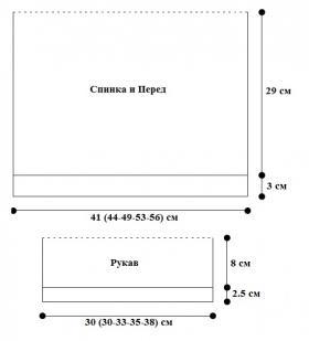 Свитер с узором резинка на кокетке - Выкройка 1