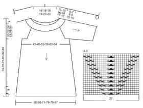 Туника с ажурной кокеткой и рукавами - Схема 2