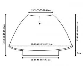 Летний топ спицами с рукавом летучая мышь - Выкройка 1