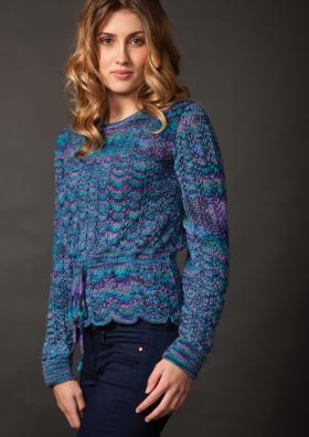 Ажурный свитер с поясом