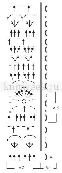 Ажурные митенки Троя - Схема 1