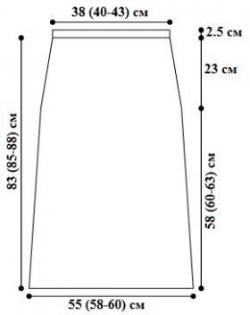 Жилет на пуговицах и длинная юбка спицами - Выкройка 2