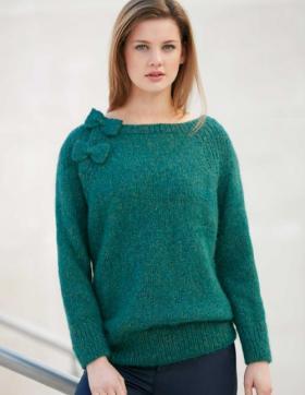 Пуловер реглан с украшением из бабочек