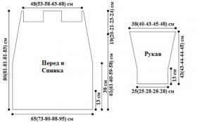 Длинный кардиган спицами с шалевым воротником - Выкройка 1