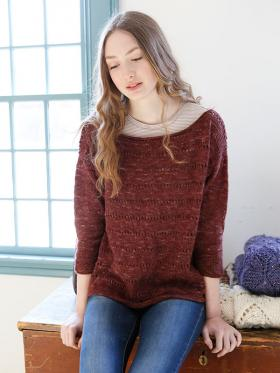 Пуловер с укороченным рукавом и спущенной проймой