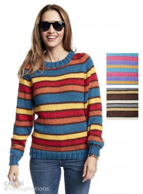 Пуловер реглан в полоску с круглым воротником