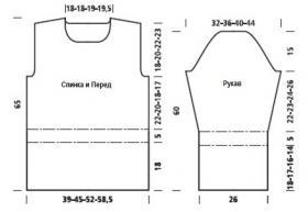 Водолазка с узором резинка и широким воротником - Выкройка 1