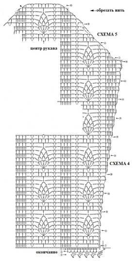 Лиловый ажурный кардиган - Схема 5