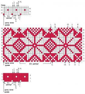 Длинный жаккардовый жакет со снежинками - Схема 1