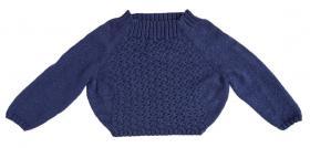 Укороченный свитер реглан с узором из жгутов - Фото 1