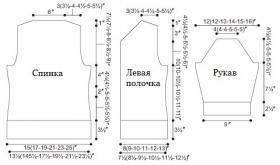 Кардиган спицами с горизонтальной резинкой - Выкройка 1