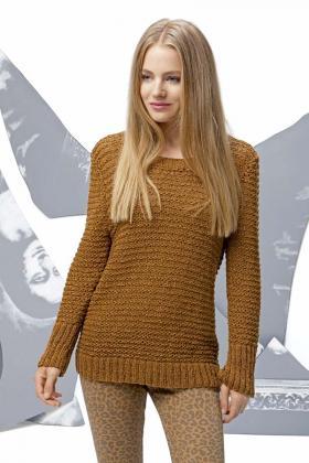 Пуловер с рельефными полосами по горизонтали