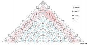 Треугольная шаль с ананасами - Схема 1
