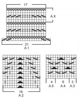 Юбка длиной ниже колен с ажуром - Схема 1