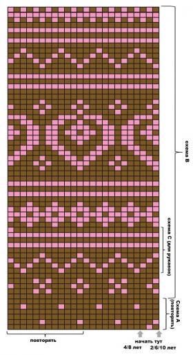 Жаккардовый комплект с туникой - Схема 1