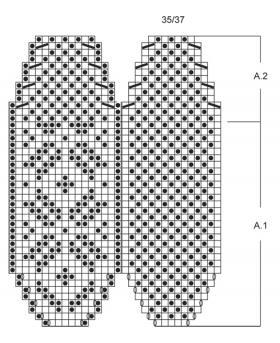 Тапочки спицами со снежинкой - Схема 1