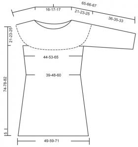 Вязаное платье спицами с круглой кокеткой - Выкройка 1