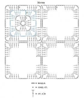 Удлиненный свитер крючком из мотивов - Схема 1